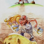 """Farm"" Colored pencils and watercolors, taken form the children book "" Trapitos el espantapájaros"" Text by Carlos Hermo"