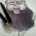 """ James Harden"" Pencil on cardboard, 2012"