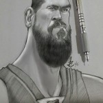 """ Marc Gasol,  Mechanical pencil and Sketchbook pro on Note 3.   2015"