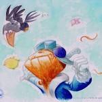 """Flying"" Colored pencils and watercolors, taken form the children book "" Trapitos el espantapájaros"" Text by Carlos Hermo"